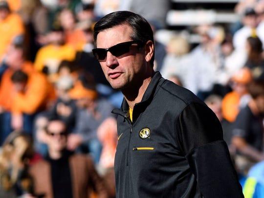 Missouri Offensive Coordinator Derek Dooley during the Tennessee and Missouri football game on Saturday, November 17, 2018.