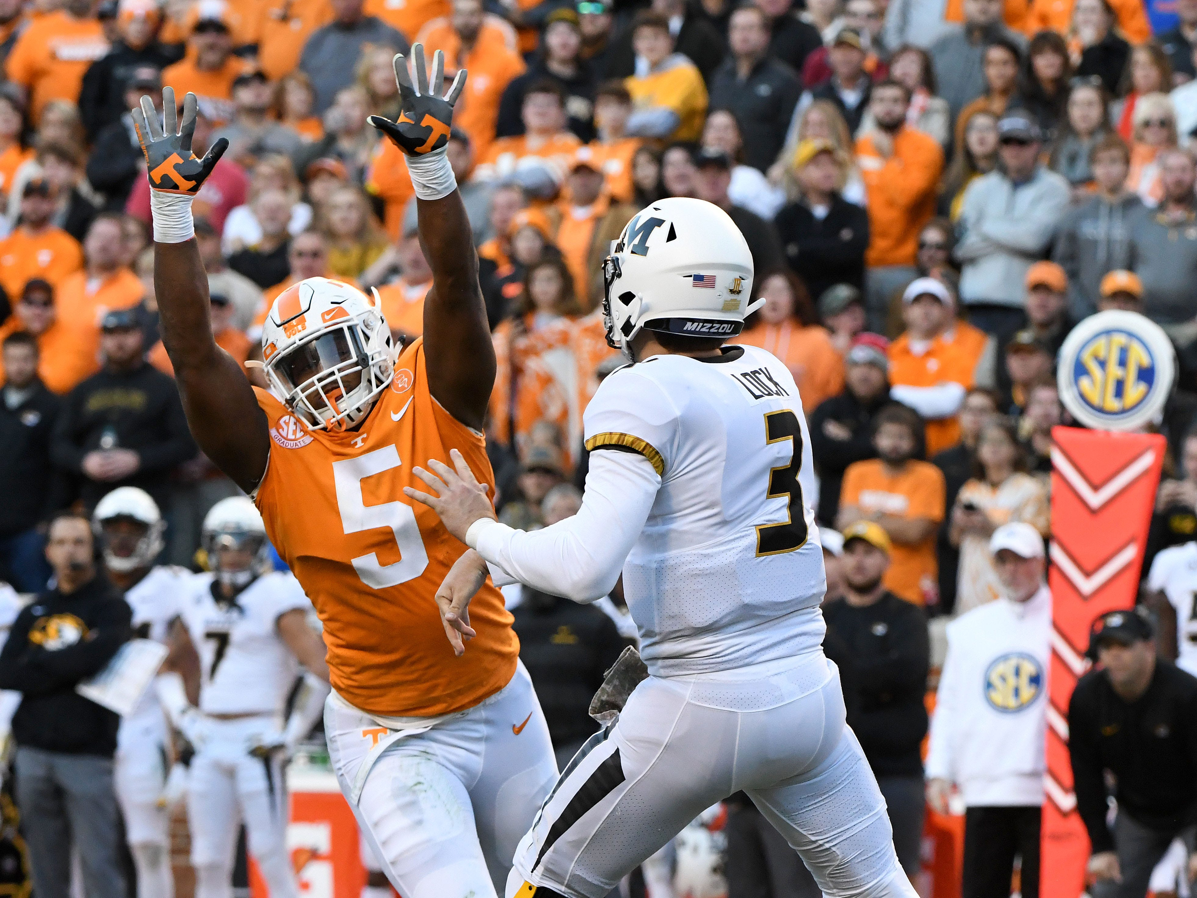 Tennessee defensive lineman Kyle Phillips (5) attacks Missouri quarterback Drew Lock (3) during first half action against Missouri Saturday, Nov. 17, 2018 at Neyland Stadium in Knoxville, Tenn.
