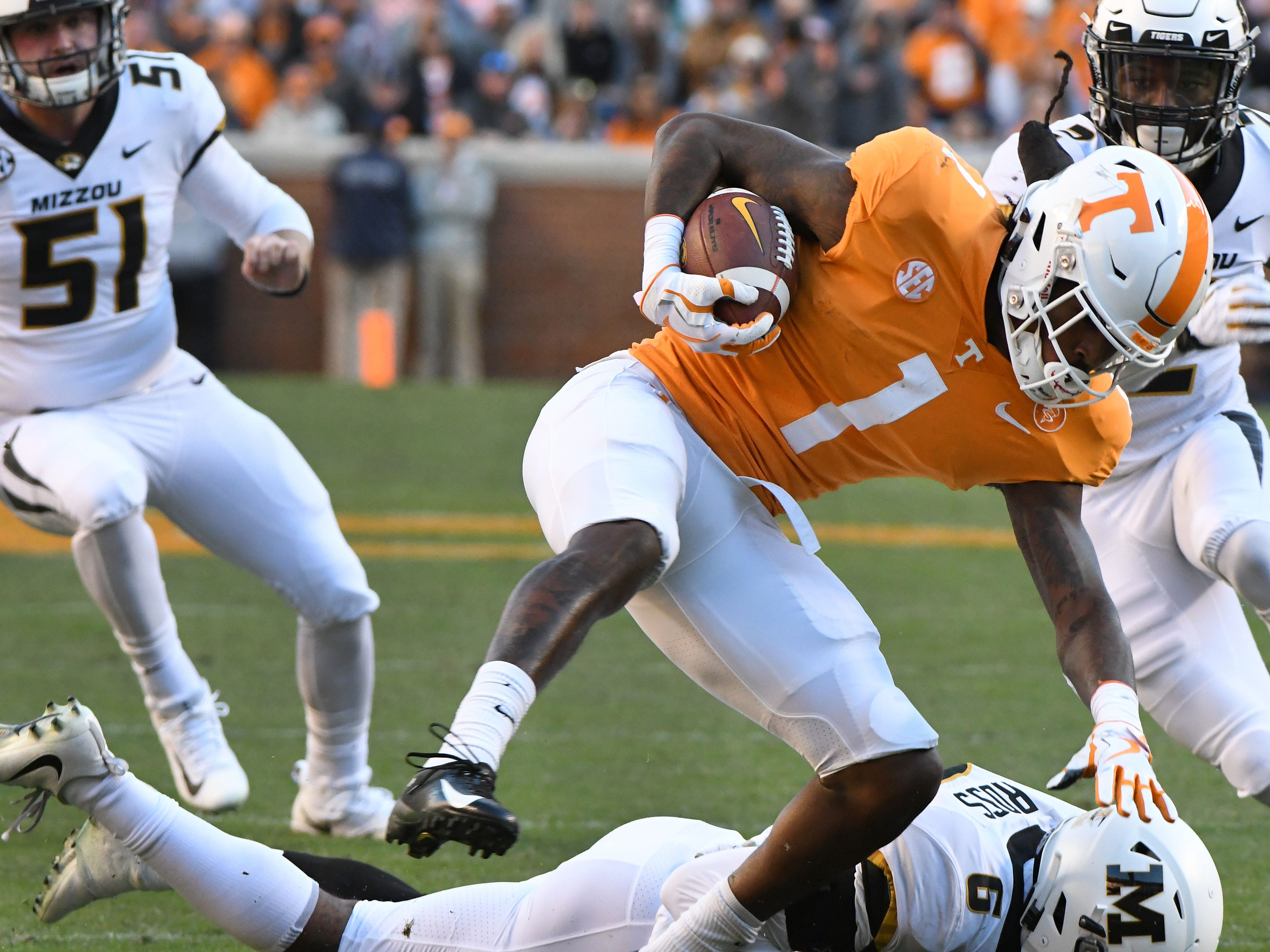 Tennessee wide receiver Marquez Callaway (1) on a kick return during first half action against Missouri Saturday, Nov. 17, 2018 at Neyland Stadium in Knoxville, Tenn.