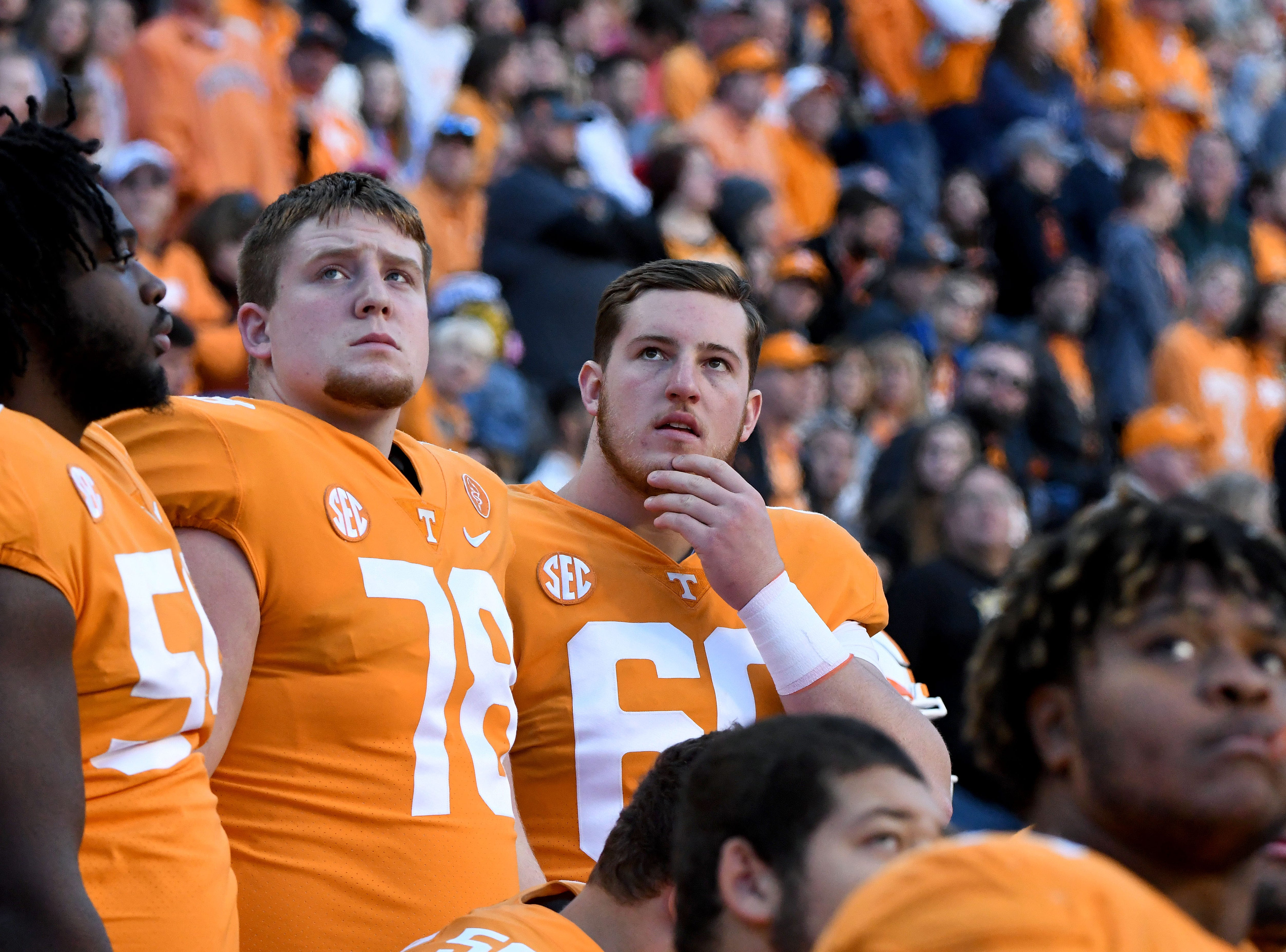 Tennessee players watch a replay from the bench during first half action against Missouri Saturday, Nov. 17, 2018 at Neyland Stadium in Knoxville, Tenn.