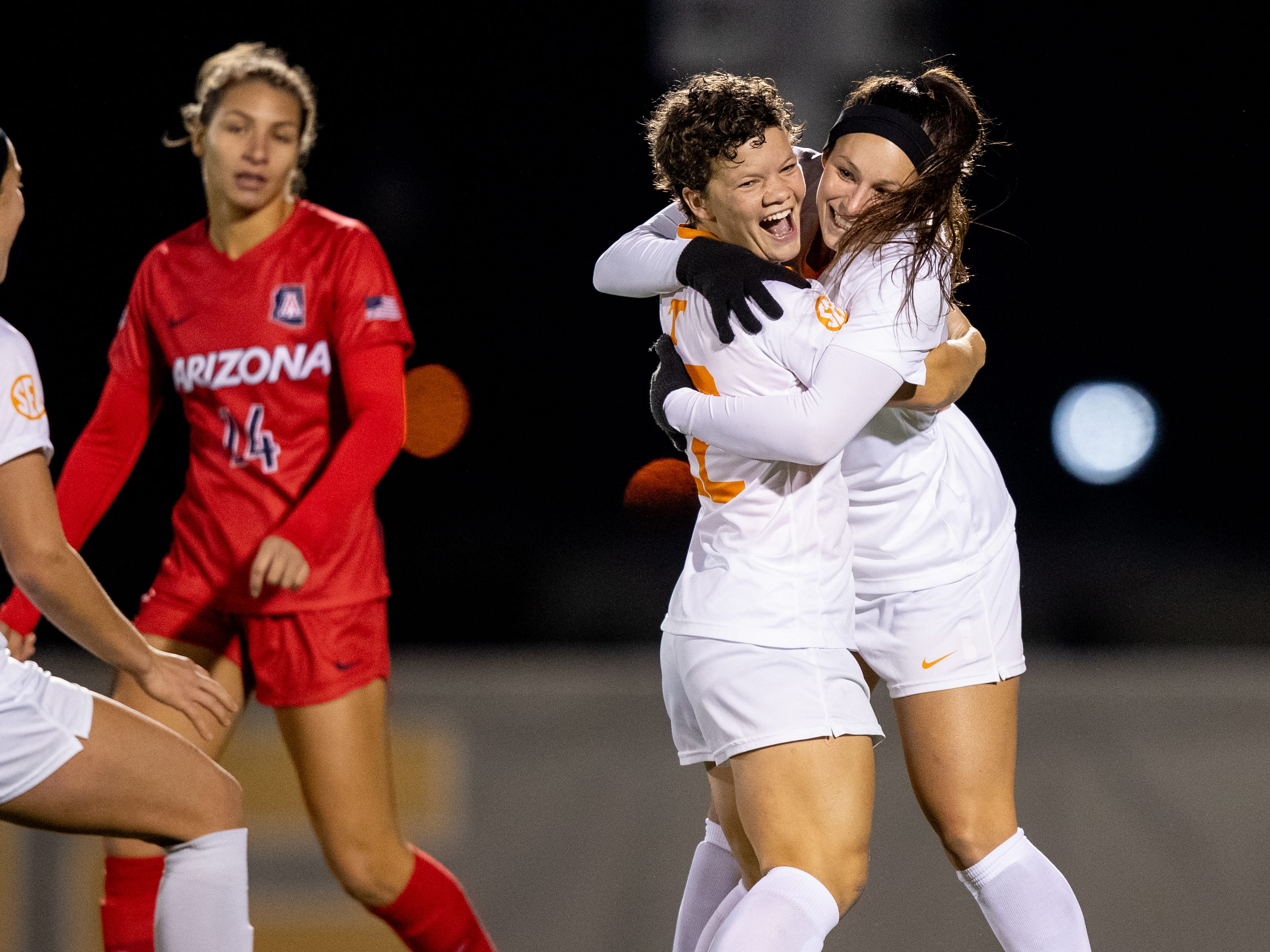 Katie Cousins, left, congratulates Danielle Marcano after she scored the game-winning goal to lift Tennessee to a 3-2 win over Arizona in the second round of the NCAA women's soccer tournament at Regal Stadium in Knoxville, Tenn., on Nov. 16, 2018.