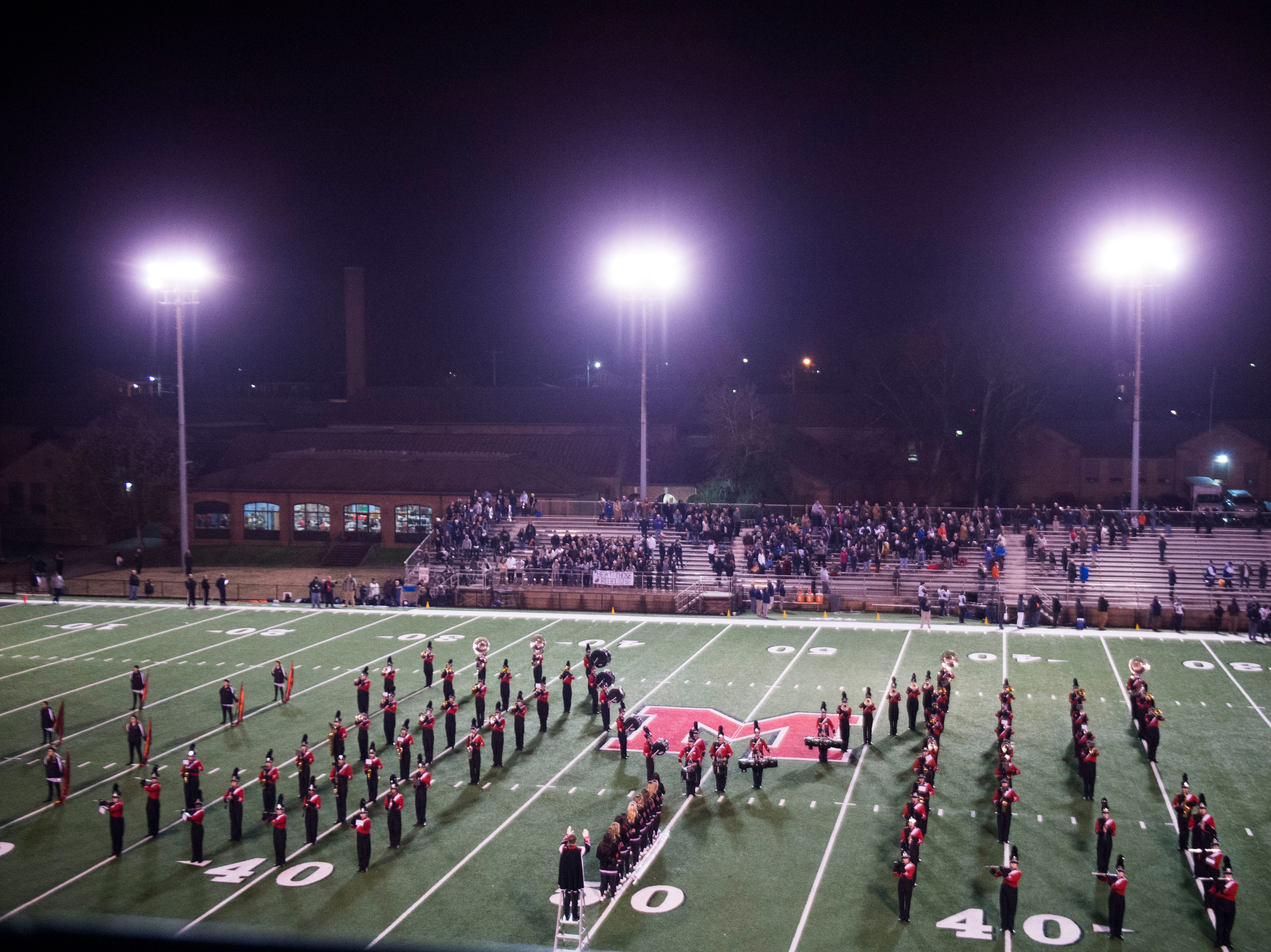 The Maryville band stands on the field before a game between Maryville and Farragut at Maryville Friday, Nov. 16, 2018.
