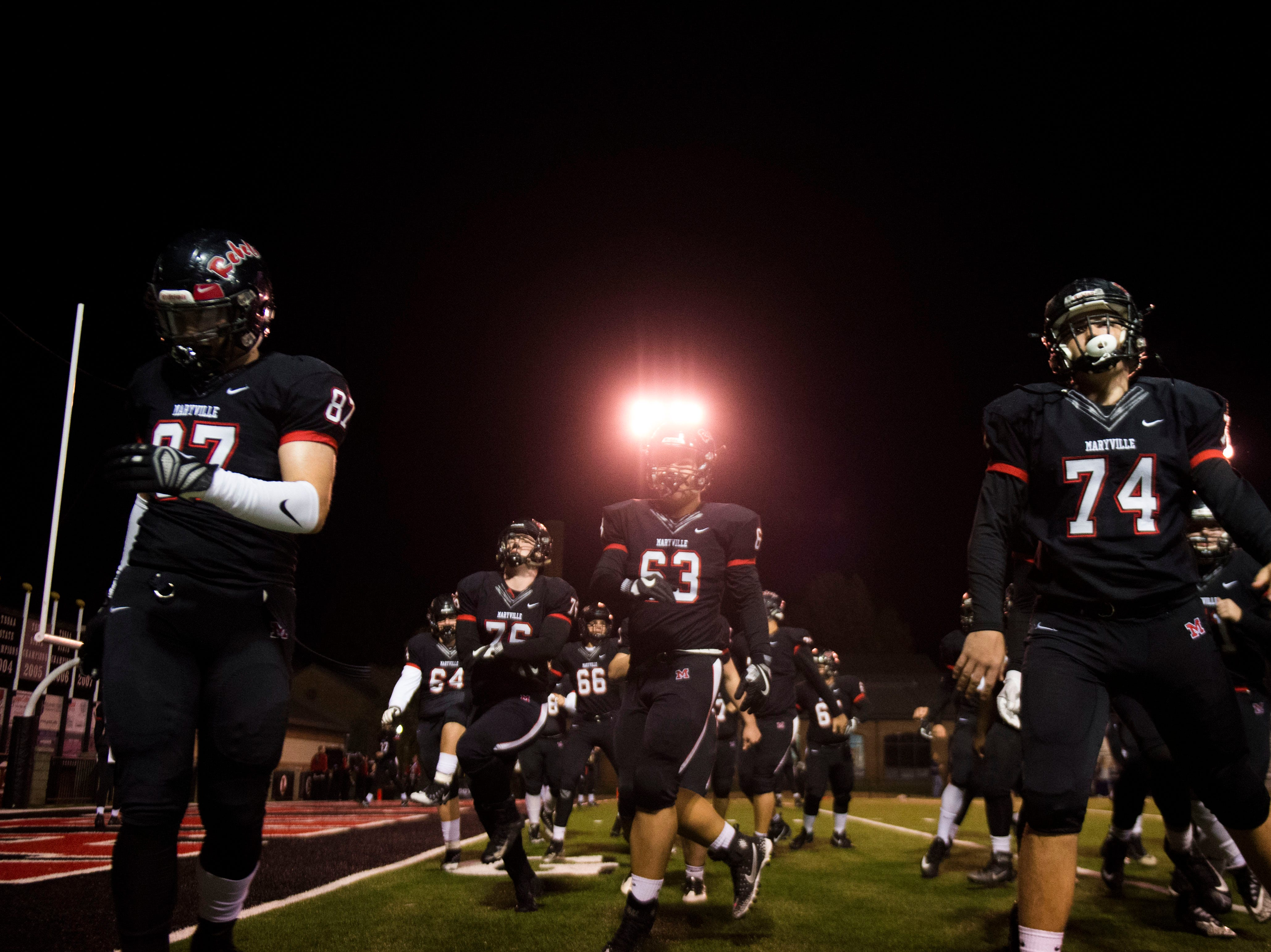 Maryville takes the field before a game between Maryville and Farragut at Maryville Friday, Nov. 16, 2018.