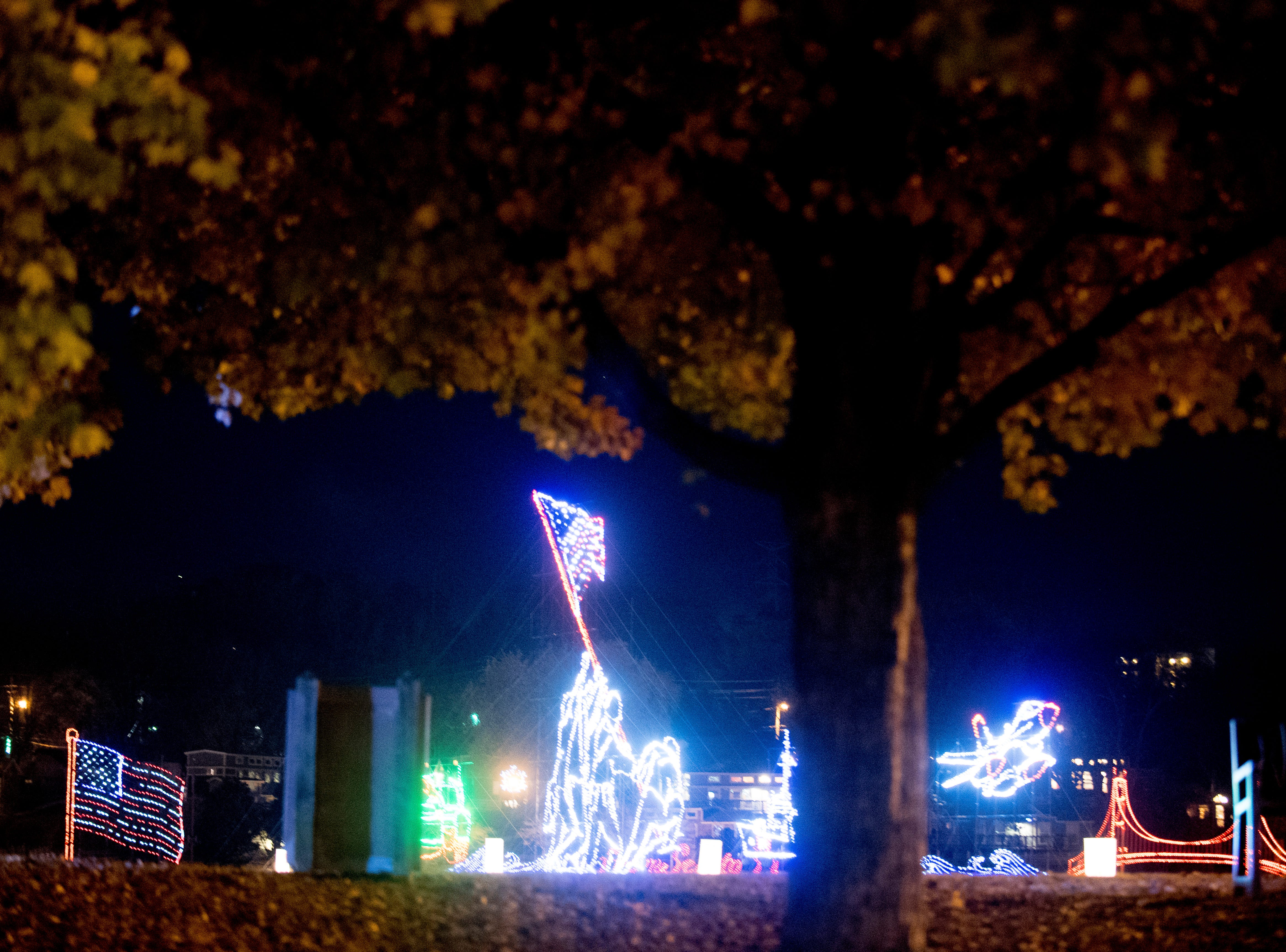 Several holiday light displays honoring veterans can be seen at the annual Winterfest holiday lights display at Patriot Park in Pigeon Forge, Tennessee on Friday, November 16, 2018.