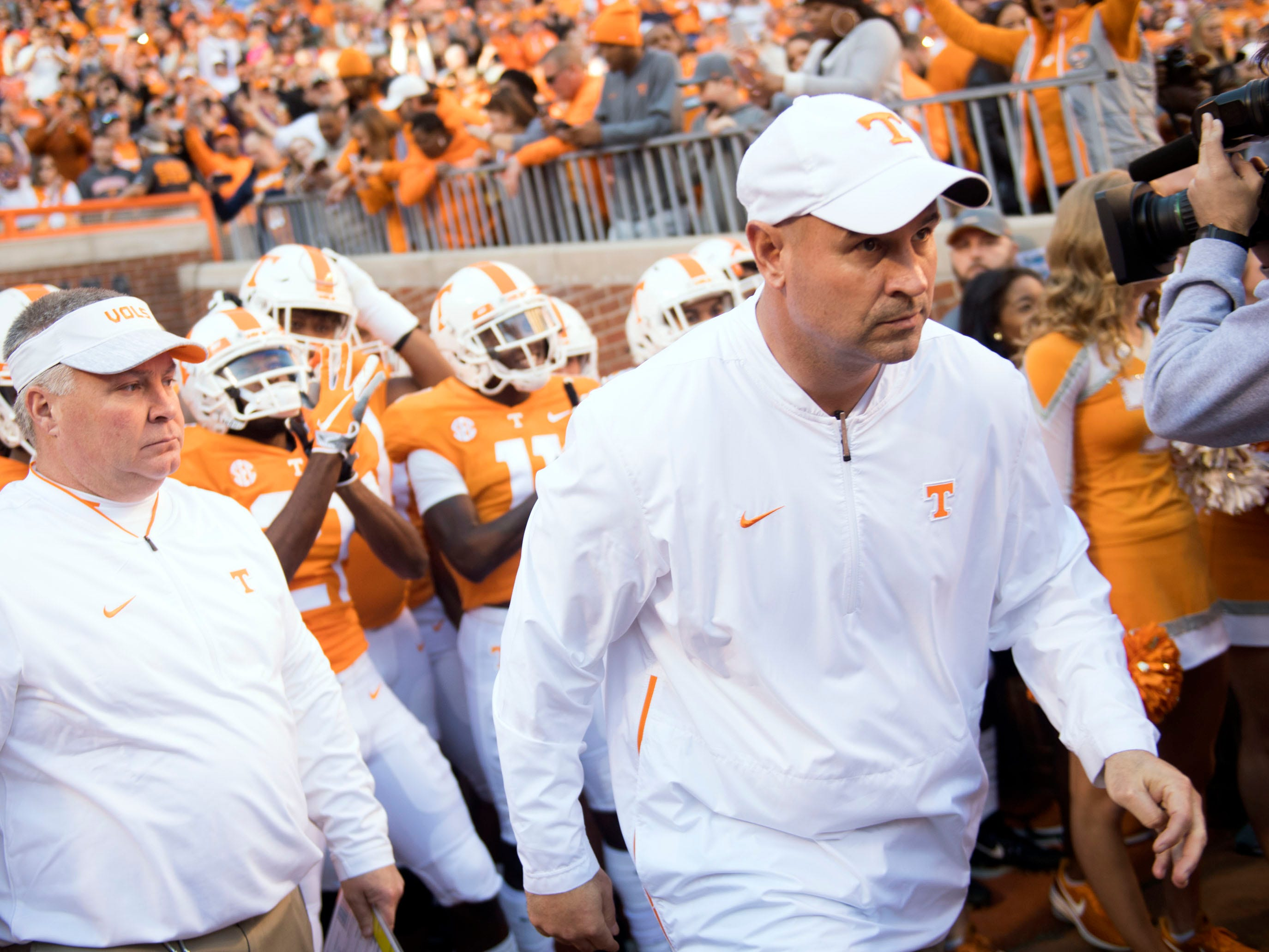 Tennessee Head Coach Jeremy Pruitt leads the team onto the field for game against Missouri on Saturday, November 17, 2018.