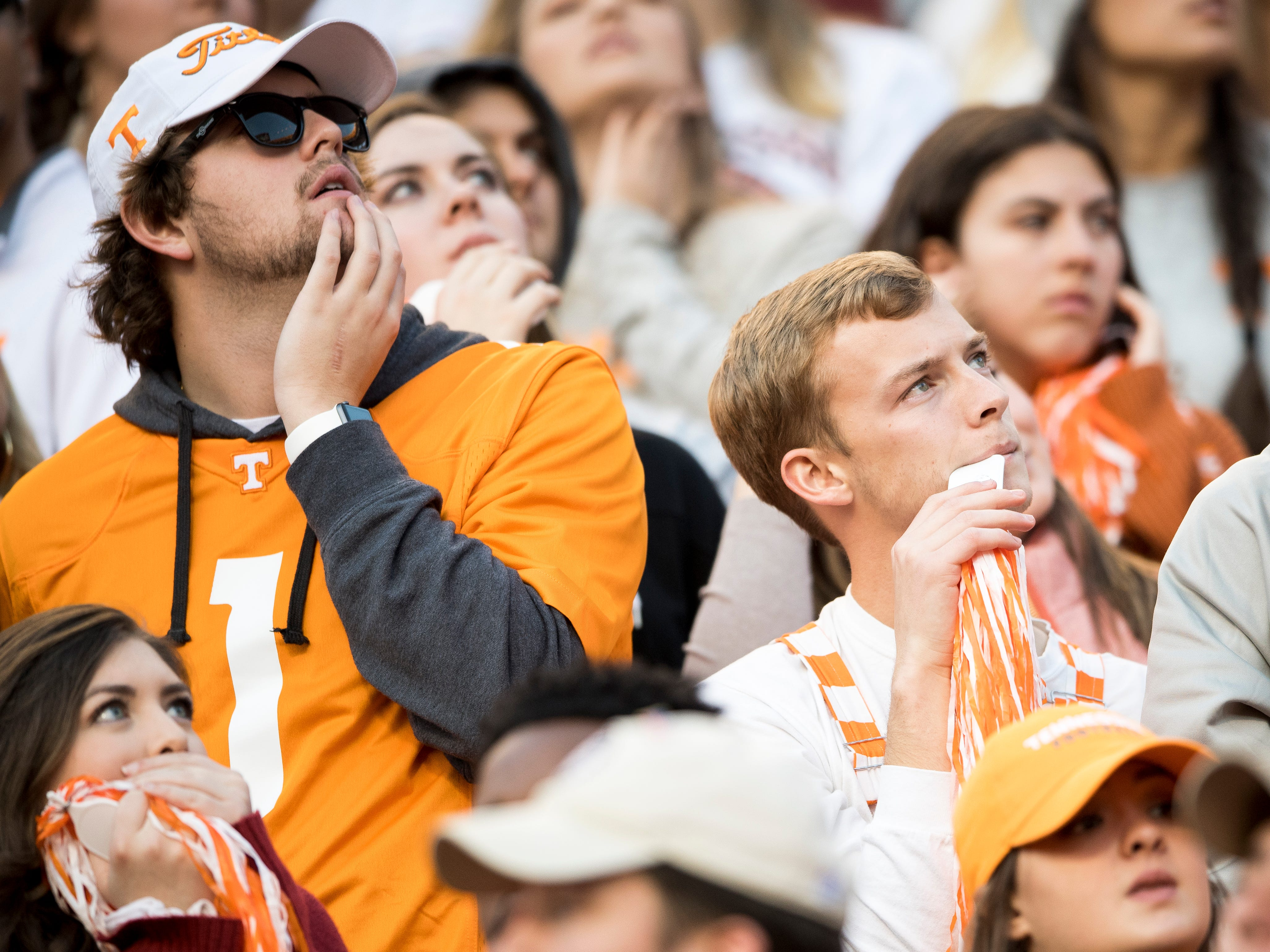Fans react to a Missouri touchdown during the Tennessee Volunteers game against the Missouri Tigers in Neyland Stadium on Saturday, November 17, 2018.