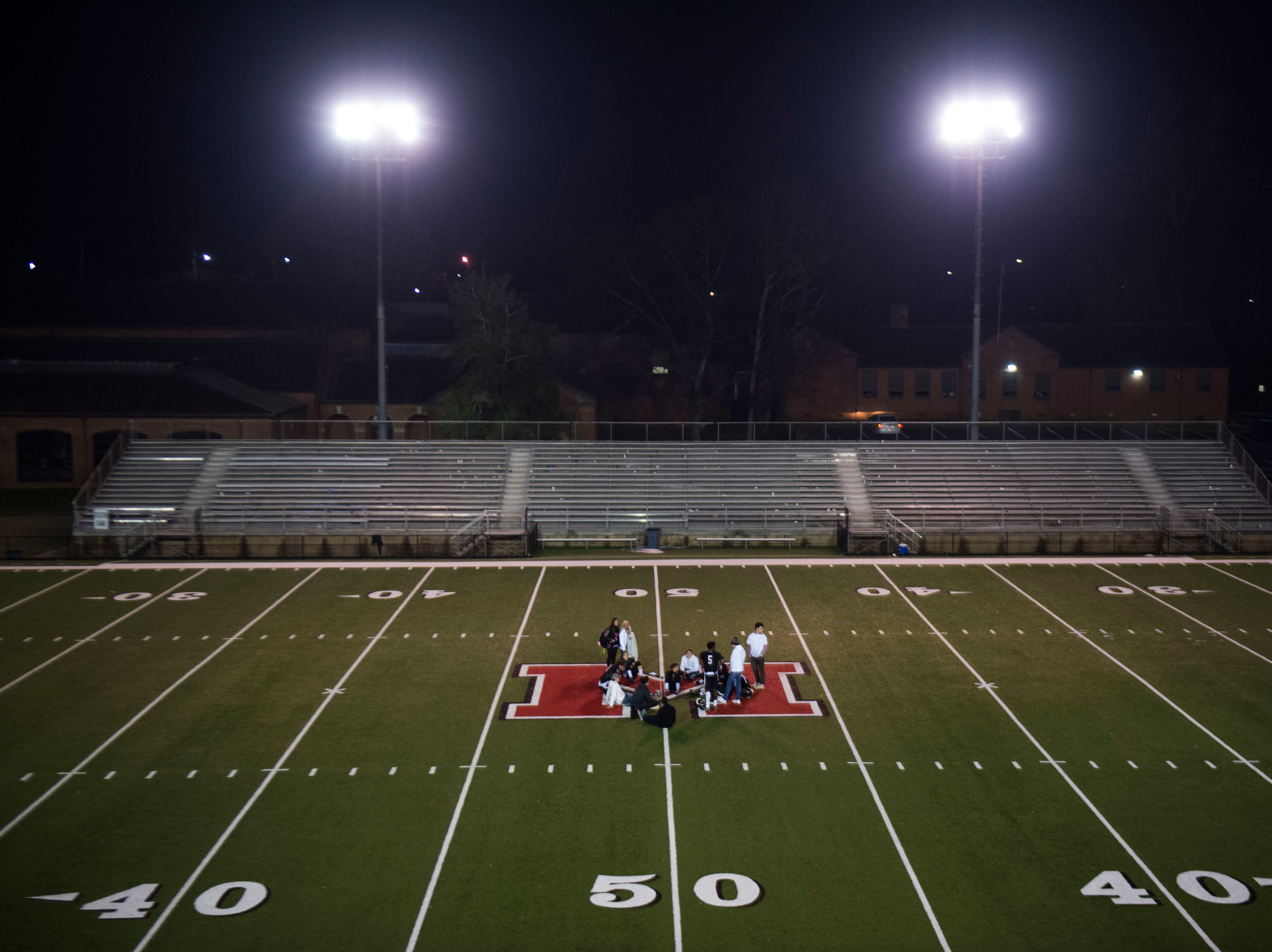 Senior Maryville players gather on the 50-yard-line after a 6A quarterfinal game between Maryville and Farragut at Maryville Friday, Nov. 16, 2018. Maryville defeated Farragut 26-10.