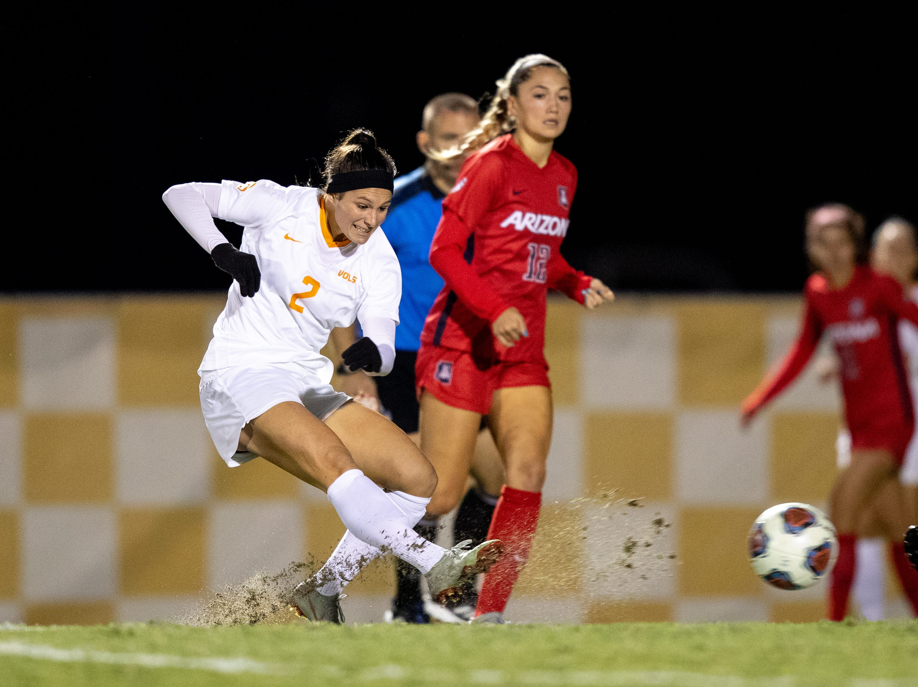 Danielle Marcano scores a goal against Arizona in the second round of the NCAA women's soccer tournament on Friday, Nov. 16, 2018 at Regal Stadium in Knoxville, Tenn.