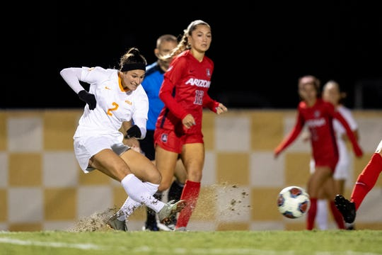 Danielle Marcano scores a goal against Arizona in the second round of the NCAA women's soccer tournament on Friday at Regal Stadium in Knoxville.