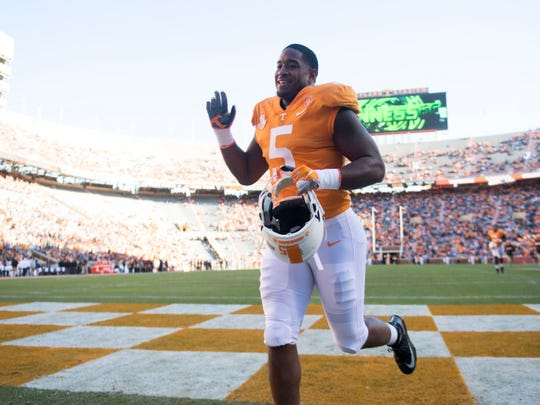 Tennessee defensive lineman Kyle Phillips (5) waves to the crowd as he leaves the field after a recognition ceremonues for the team seniors before the start of the game against Missouri on Saturday, November 17, 2018.