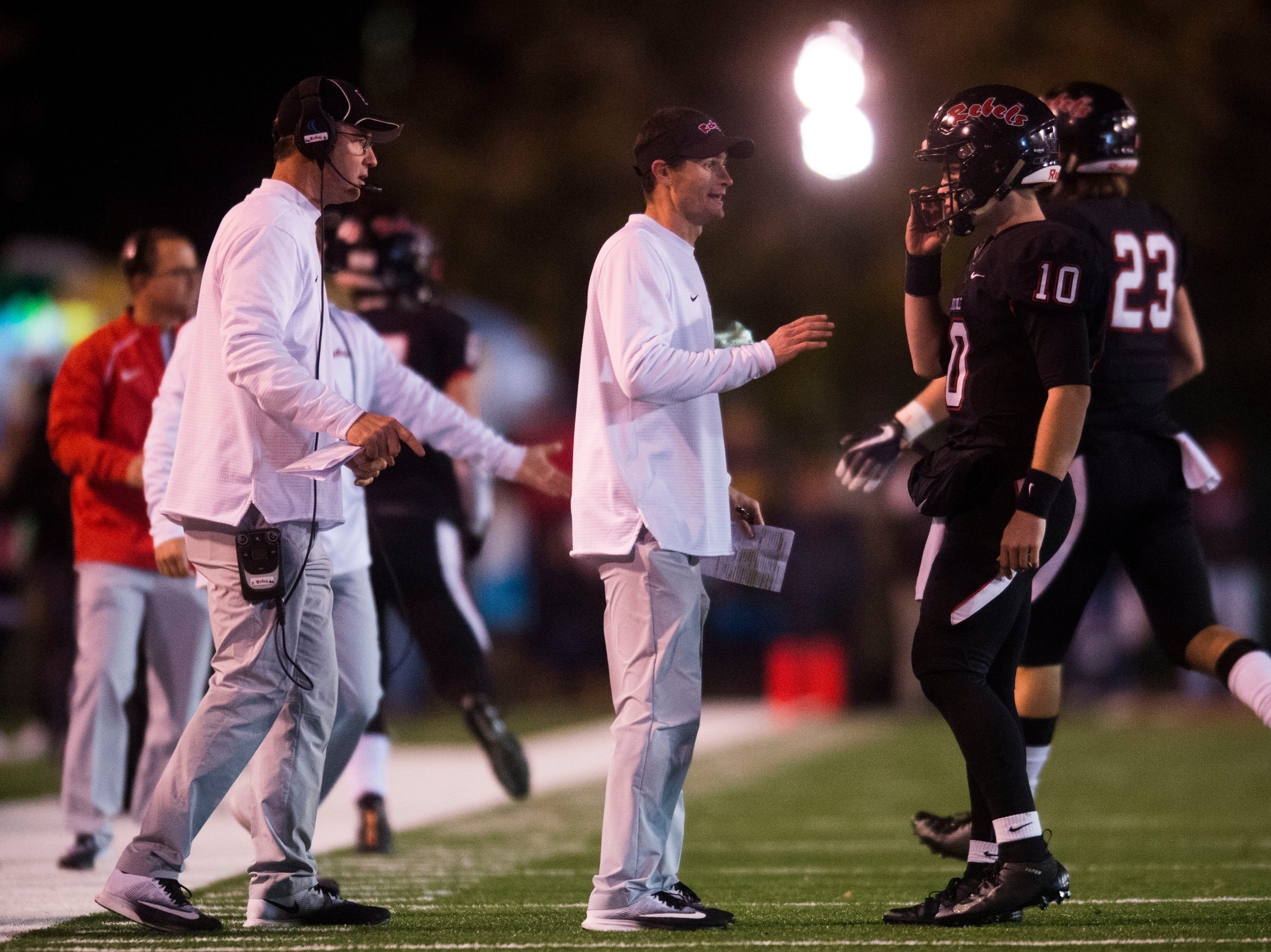 Maryville Head Coach Derek Hunt coaches during a 6A quarterfinal game between Maryville and Farragut at Maryville Friday, Nov. 16, 2018. Maryville defeated Farragut 26-10.