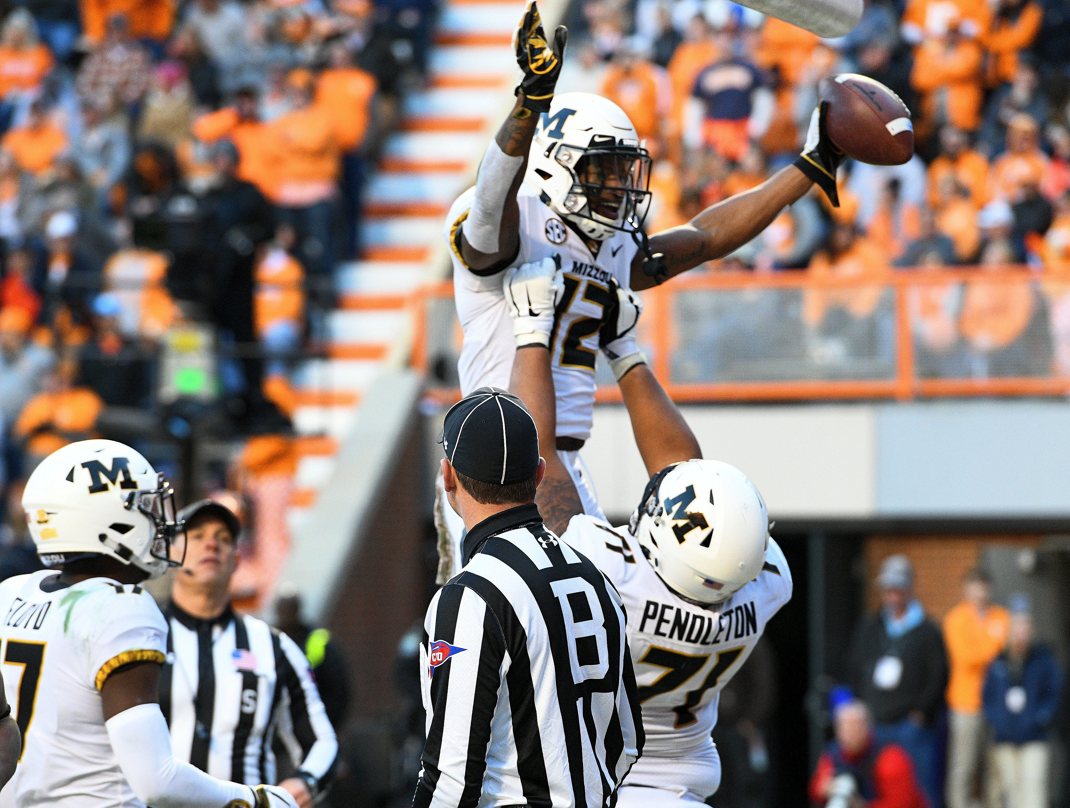 Missouri wide receiver Johnathon Johnson (12) celebrates a touchdown during first half action against Tennessee  Saturday, Nov. 17, 2018 at Neyland Stadium in Knoxville, Tenn.