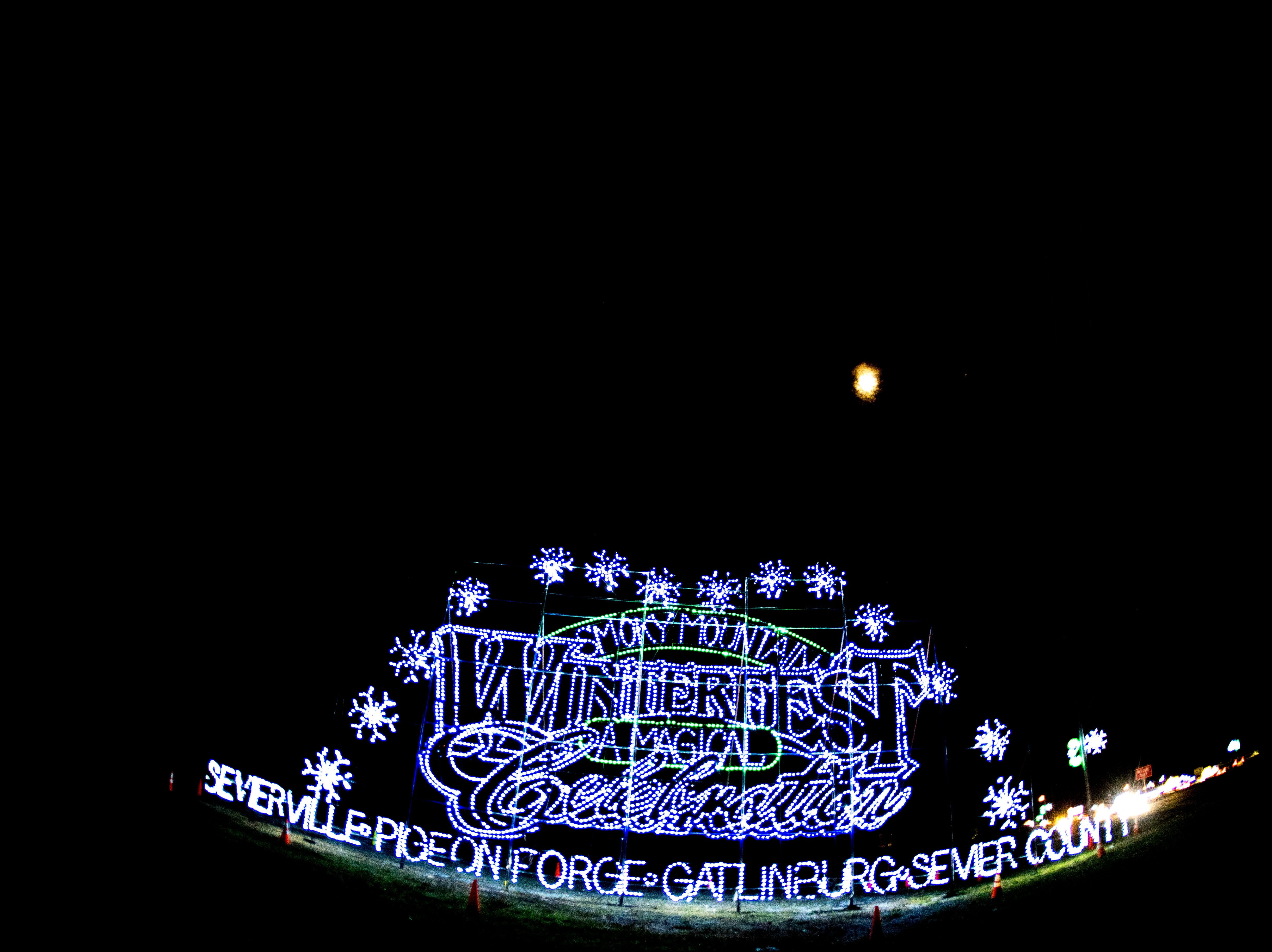 A Winterfest holiday lights sign welcomes visitors to Sevierville, Tennessee on Friday, November 16, 2018.