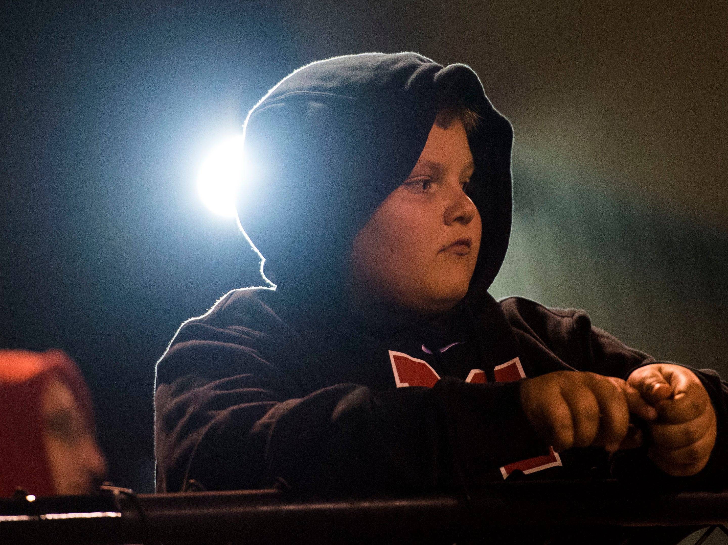 A Maryville fan watches during a 6A quarterfinal game between Maryville and Farragut at Maryville Friday, Nov. 16, 2018. Maryville defeated Farragut 26-10.