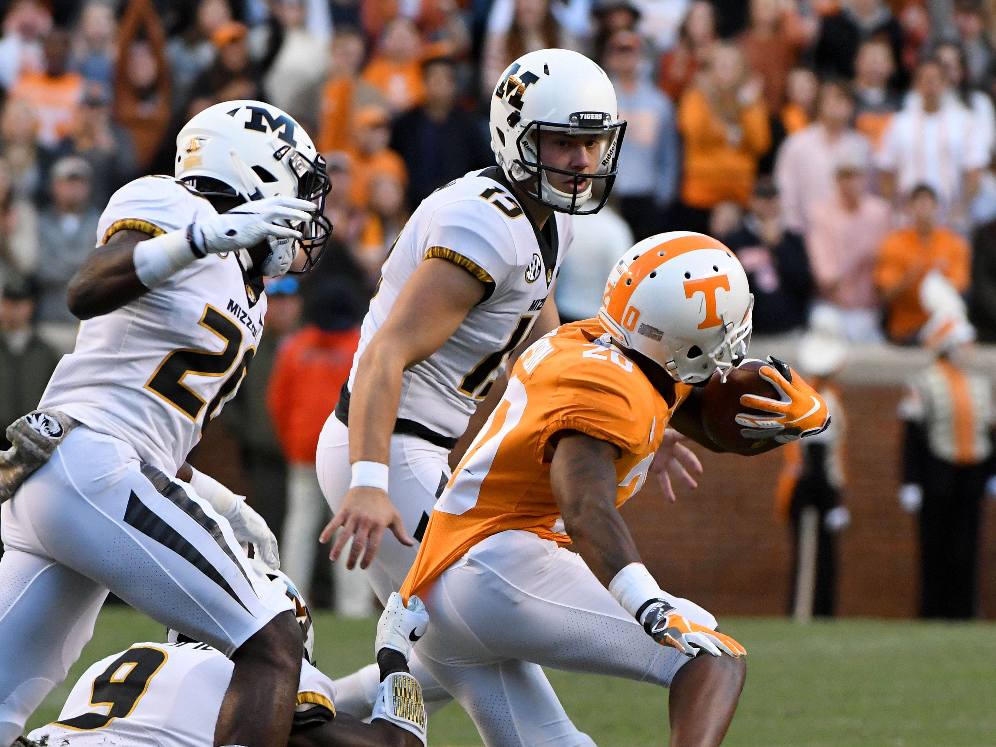Tennessee defensive back Bryce Thompson (20) during first half action against Missouri Saturday, Nov. 17, 2018 at Neyland Stadium in Knoxville, Tenn.