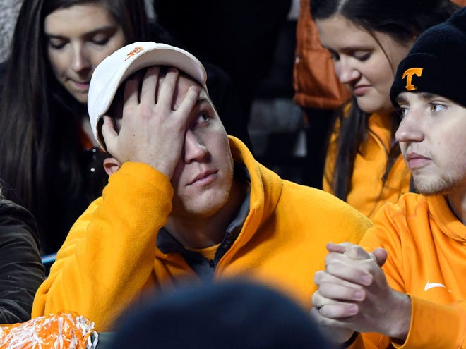 A Tennessee fan shows his displeasure during the Tennessee and Missouri football game on Saturday, November 17, 2018. Missouri defeated Tennessee 50-17.