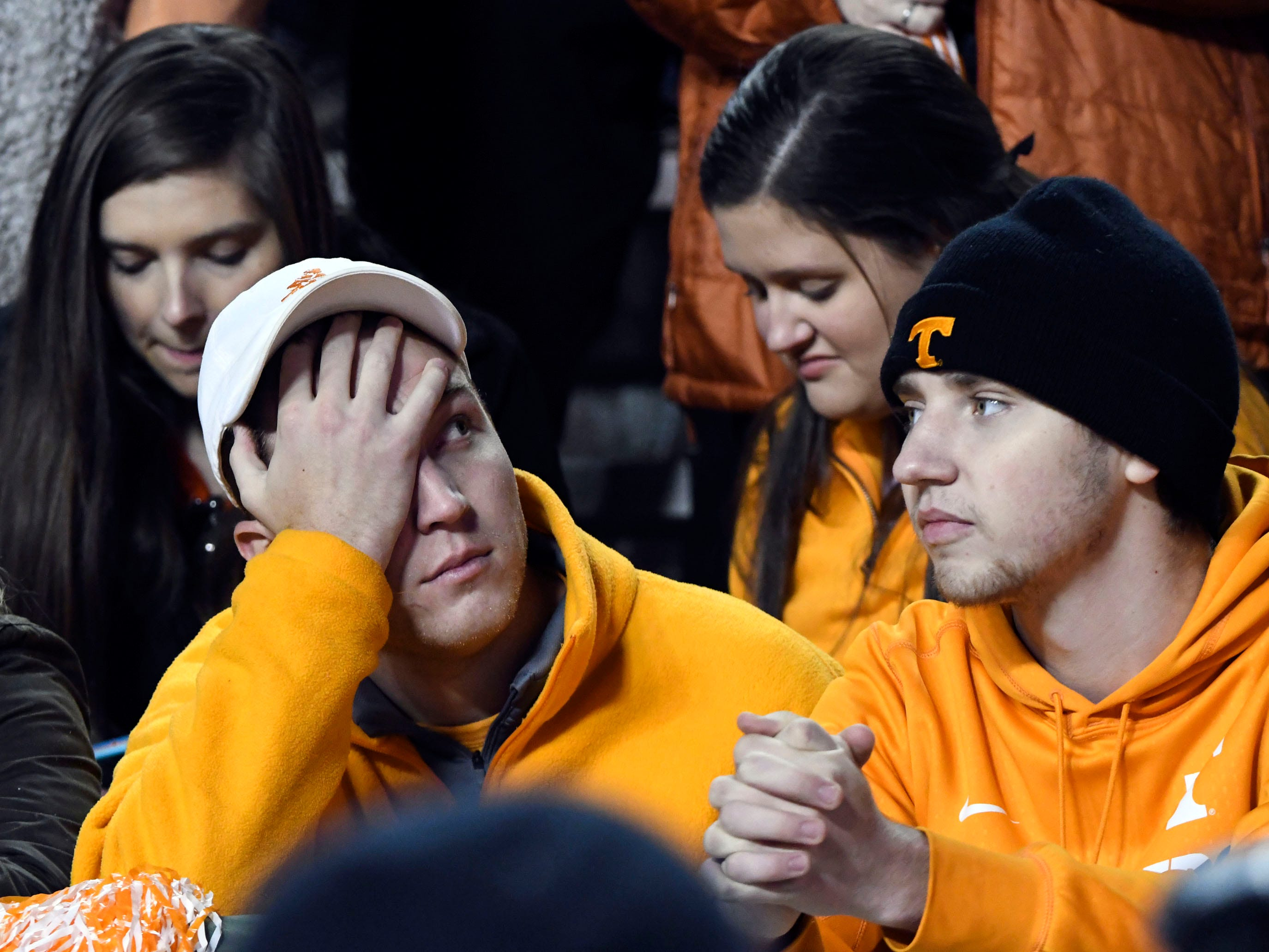 Tennessee fans shows his displeasure during the Tennessee and Missouri football game on Saturday, November 17, 2018.