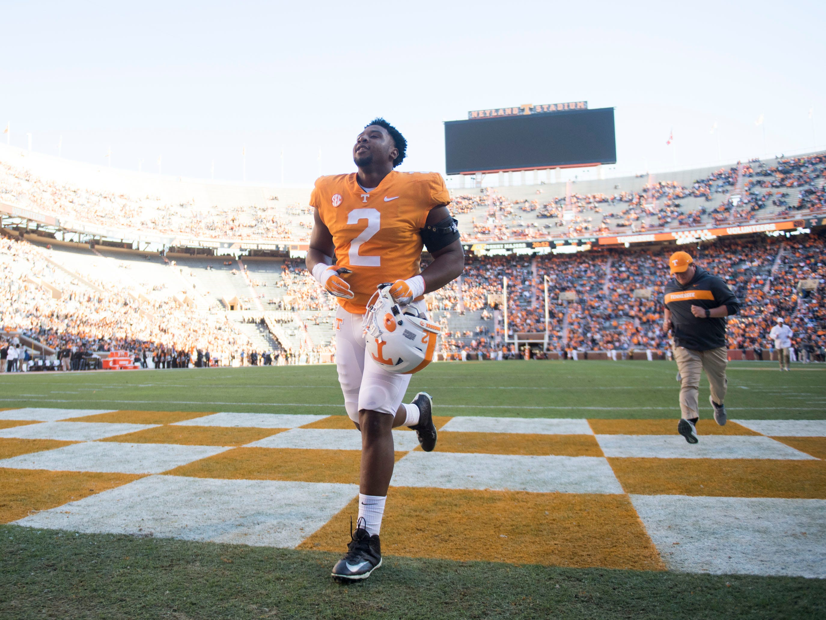 Tennessee defensive lineman Shy Tuttle (2) returns to the locker room after he is honored as a senior during ceremonies before the start of the game against Missouri on Saturday, November 17, 2018.