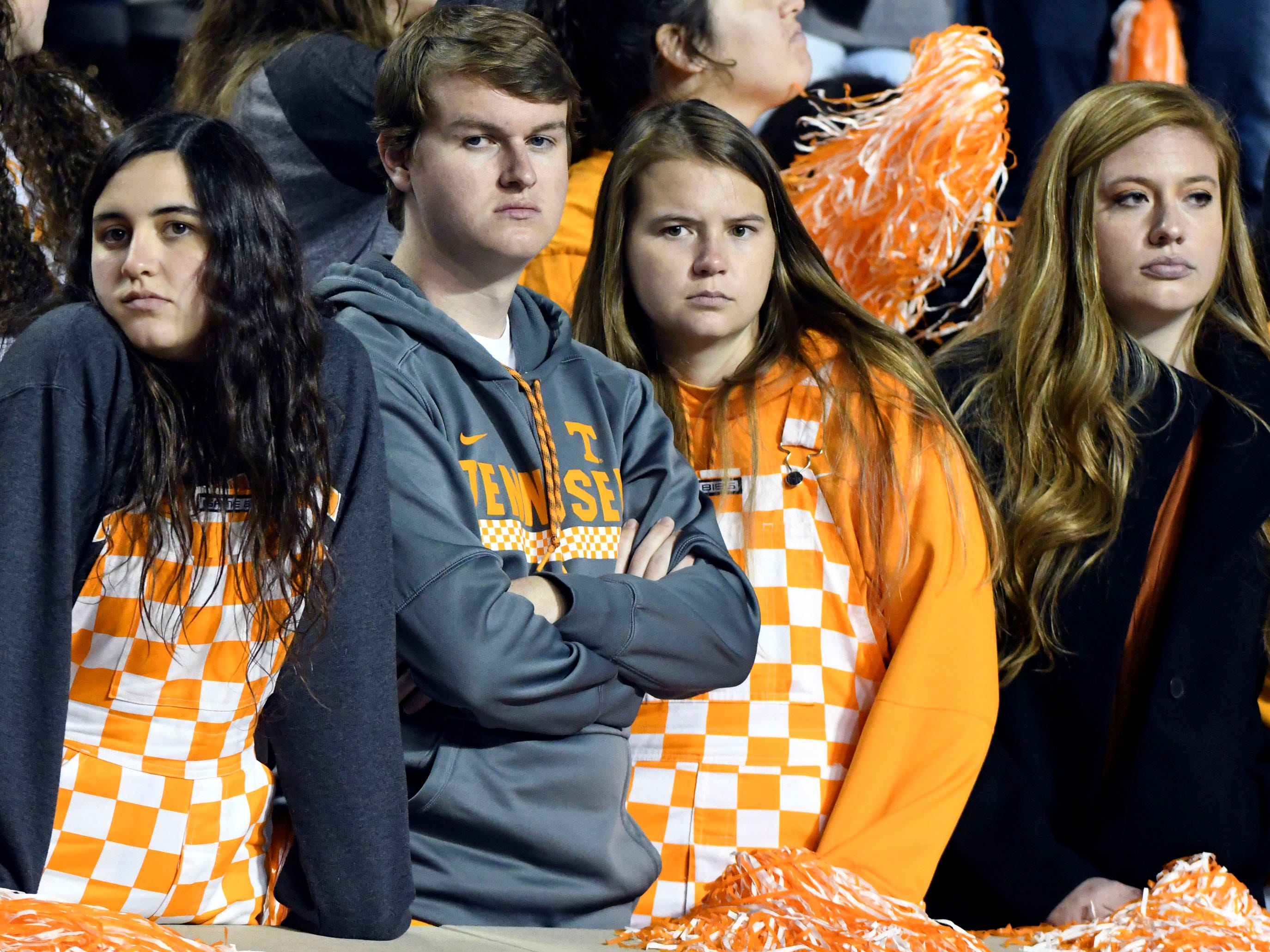 Tennessee fans show their displeasure in the final quarter of the game against Missouri on Saturday, November 17, 2018.