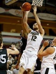 Purdue's Evan Boudreaux scores against Davidson's KiShawn Pritchett.