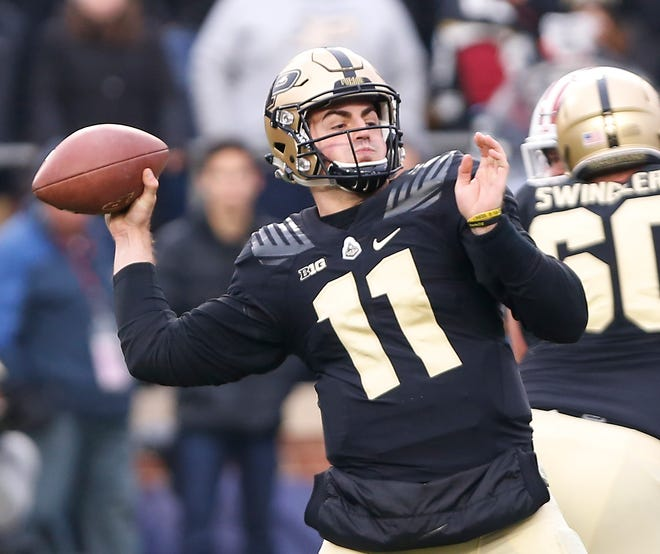 Purdue quarterback David Blough was 17 of 21 passing for 201 yards in the first half against Wisconsin.