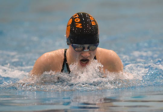 Drue Thielking of Brighton was sixth in the 100-yard breaststroke at the state Division 1 swimming meet on Saturday, Nov. 17, 2018 at Eastern Michigan University.