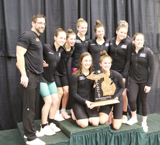 Brighton's swimming team finished second in the state Division 1 meet at Eastern Michigan University on Saturday, Nov. 17, 2018.