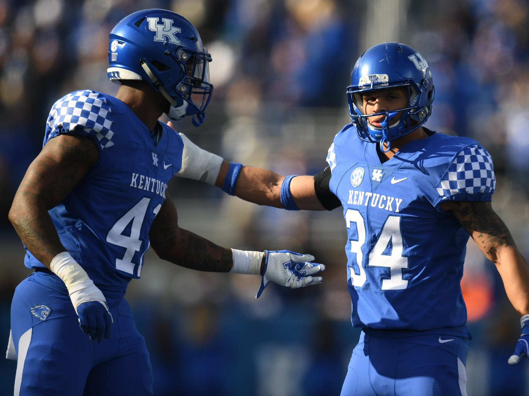 UK DE Josh Allen and LB Jordan Jones during the University of Kentucky football game against Middle Tennessee at Kroger Field in Lexington, Kentucky on Saturday, November 17, 2018.