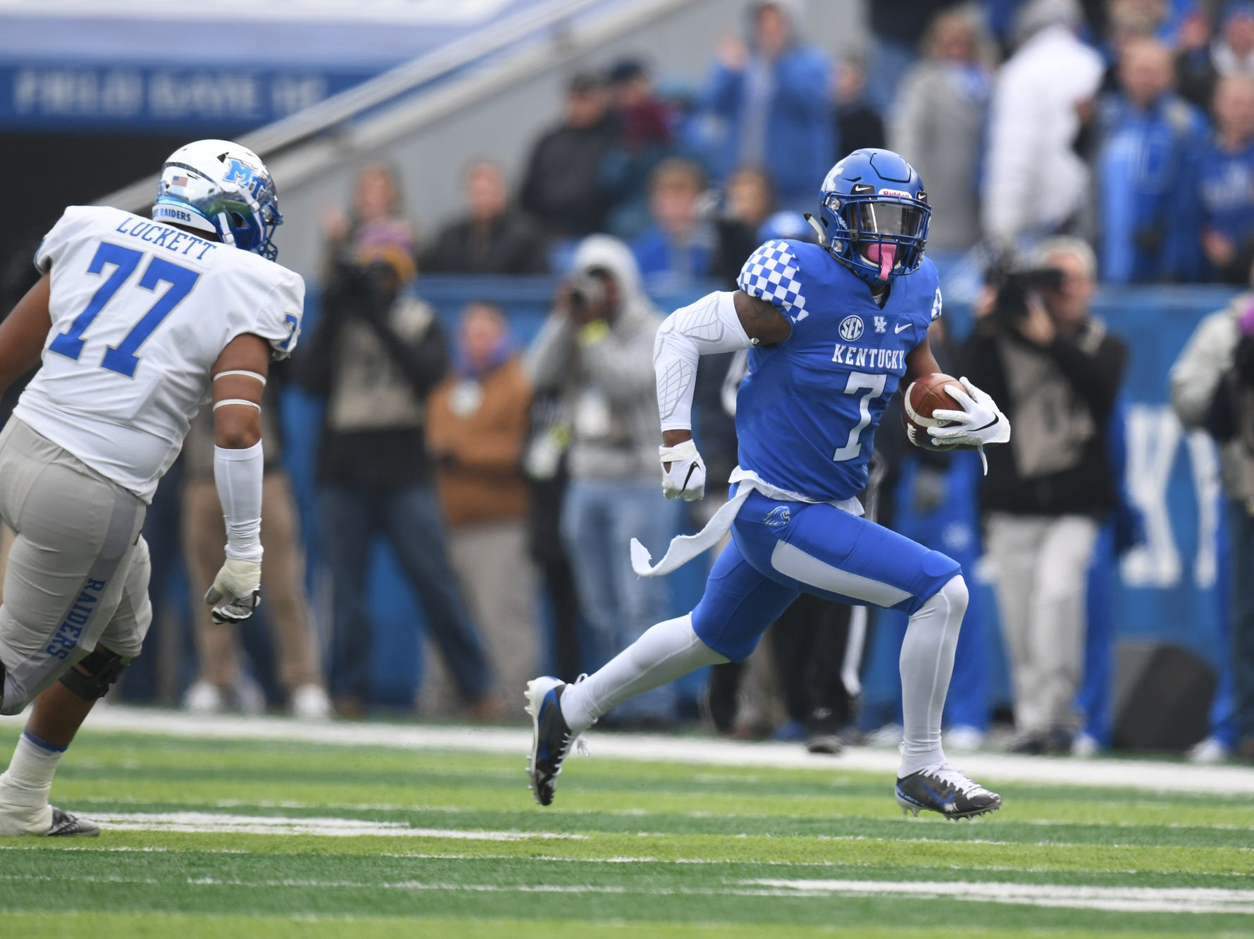 UK SS Mike Edwards runs with the ball after intercepting the pass during the University of Kentucky football game against Middle Tennessee at Kroger Field in Lexington, Kentucky on Saturday, November 17, 2018.