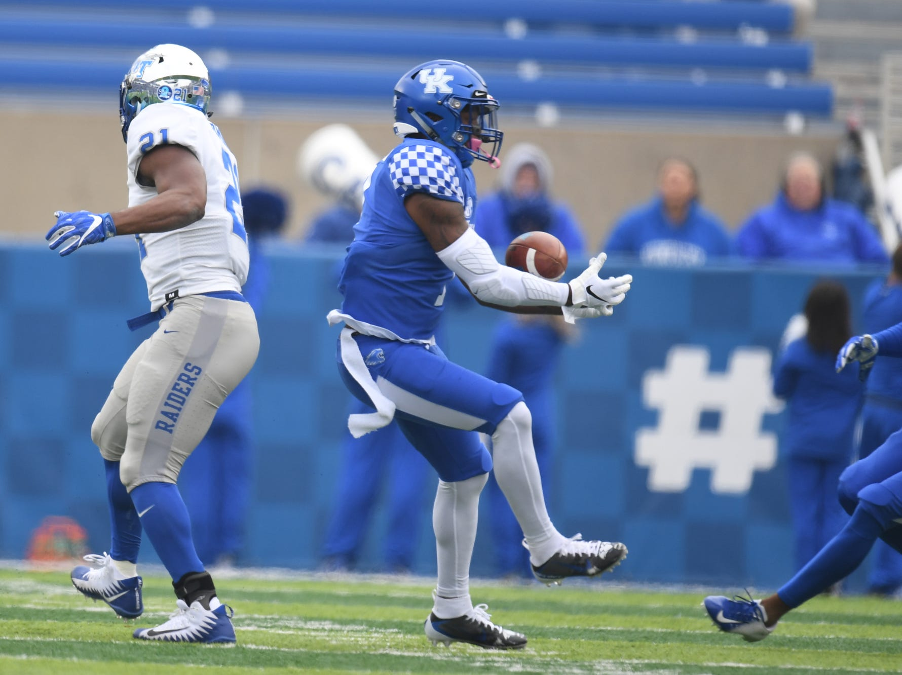 UK SS Mike Edwards intercepts the ball during the University of Kentucky football game against Middle Tennessee at Kroger Field in Lexington, Kentucky on Saturday, November 17, 2018.
