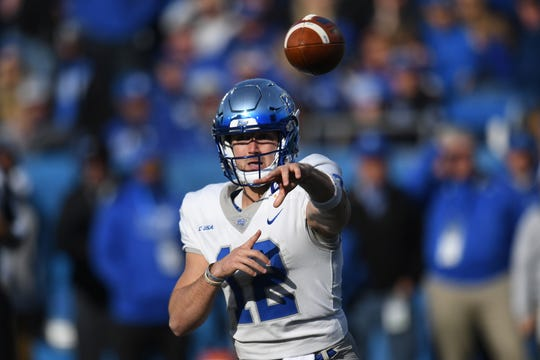 MT QB Brent Stockstill passes during the University of Kentucky football game against Middle Tennessee at Kroger Field in Lexington, Kentucky on Saturday, November 17, 2018.