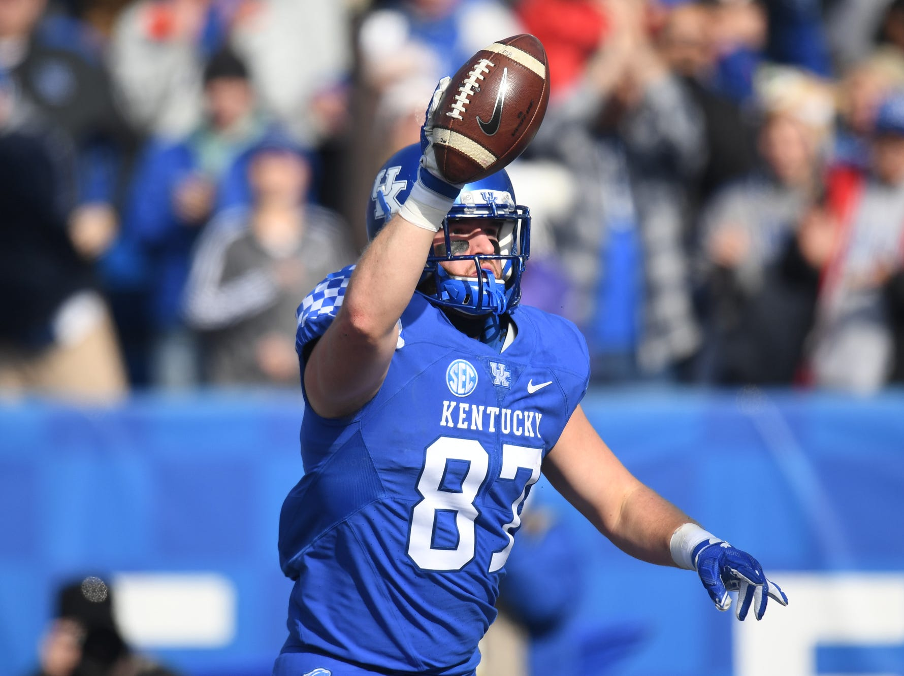UK TE C.J. Conrad celebrates a touchdown reception during the University of Kentucky football game against Middle Tennessee at Kroger Field in Lexington, Kentucky on Saturday, November 17, 2018.