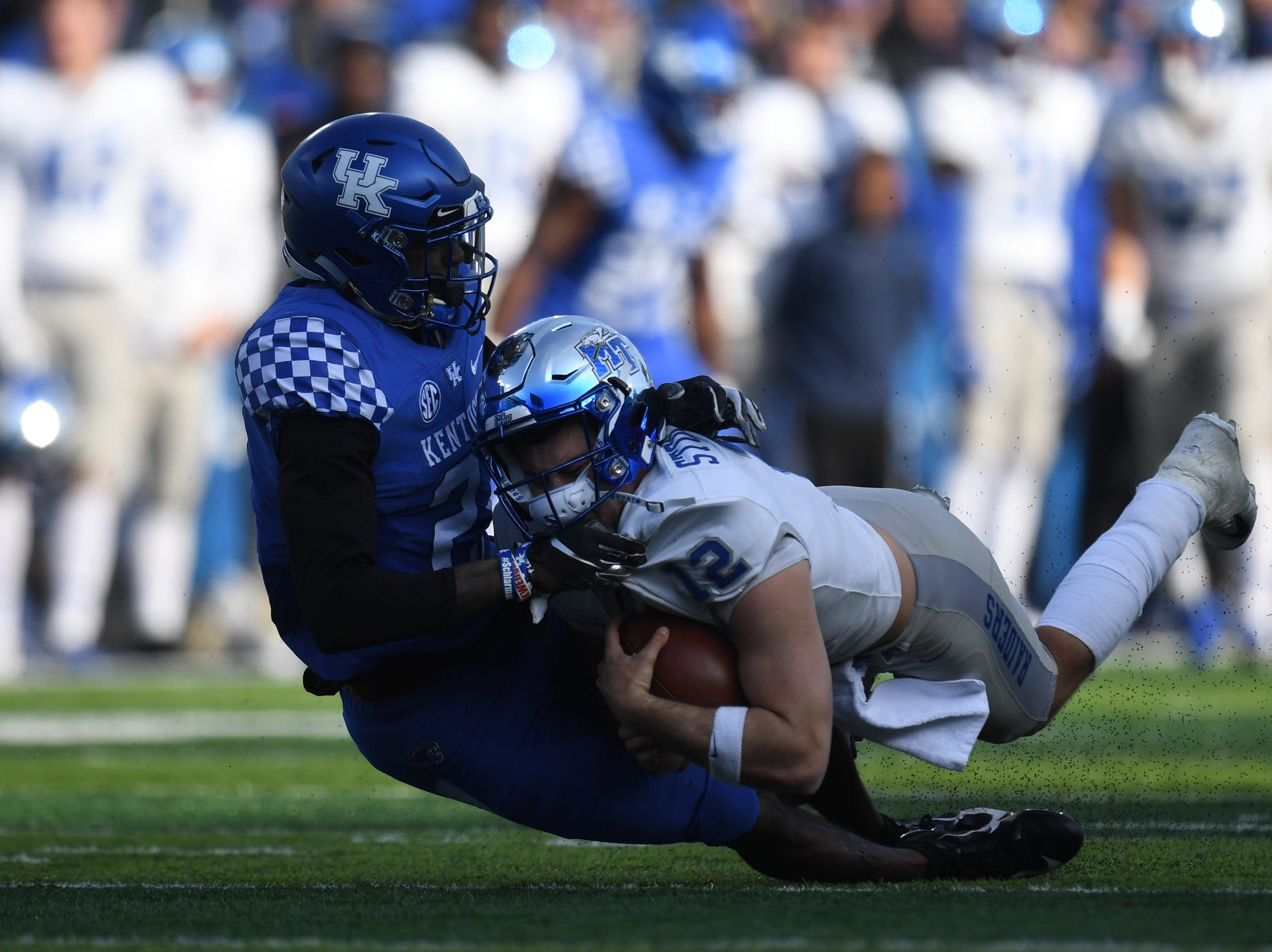 UK CB Chris Westry gets a sack during the University of Kentucky football game against Middle Tennessee at Kroger Field in Lexington, Kentucky on Saturday, November 17, 2018.