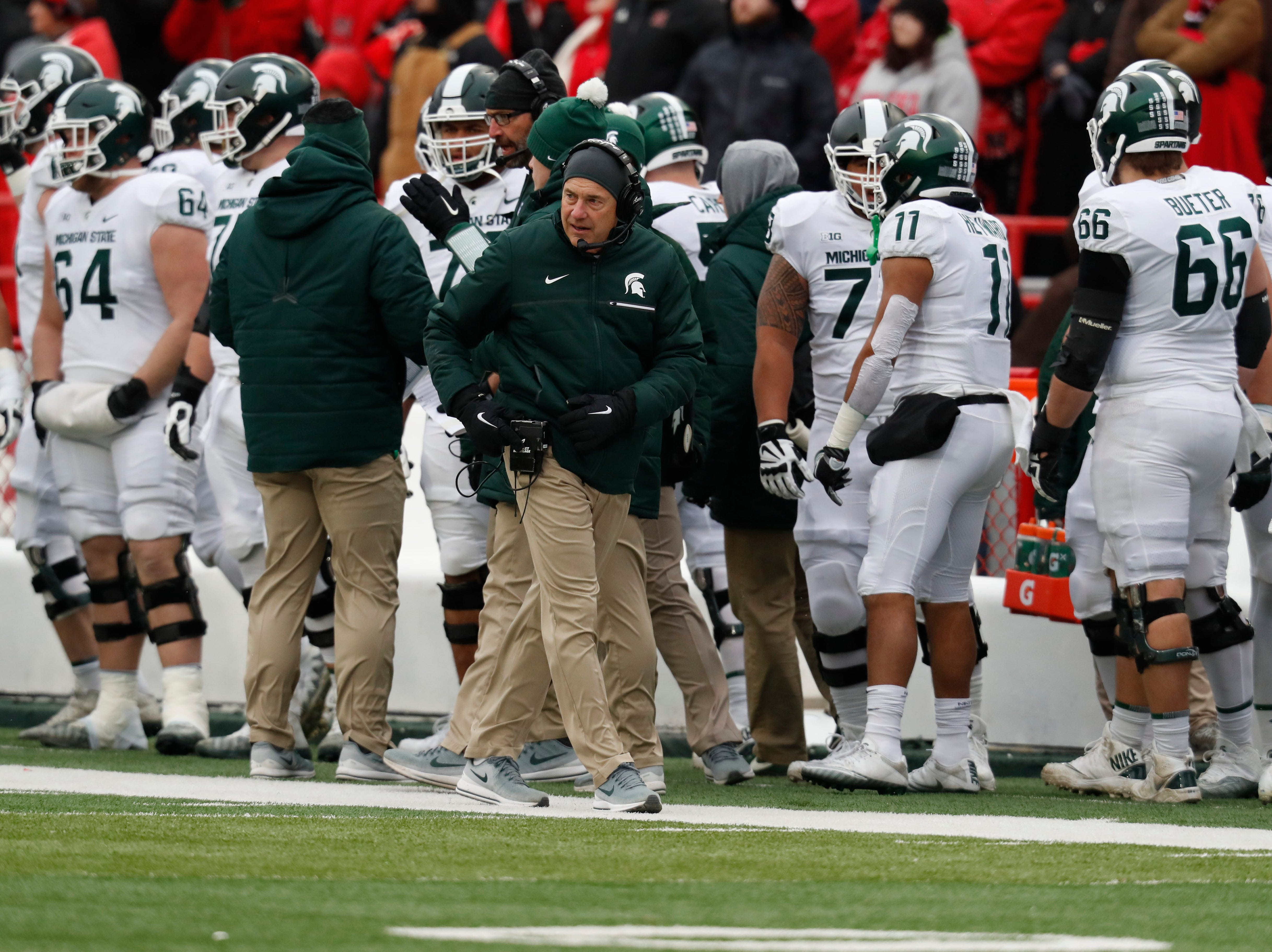 Nov 17, 2018; Lincoln, NE, USA; Michigan State Spartans head coach Mark Dantonio watches from the sideline during the game against the Nebraska Cornhuskers in the first half at Memorial Stadium. Mandatory Credit: Bruce Thorson-USA TODAY Sports