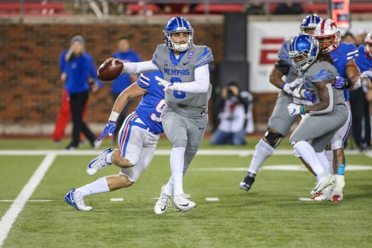 Memphis quarterback Brady White looks to pass against SMU during the Tigers' 28-18 win on November 16, 2018