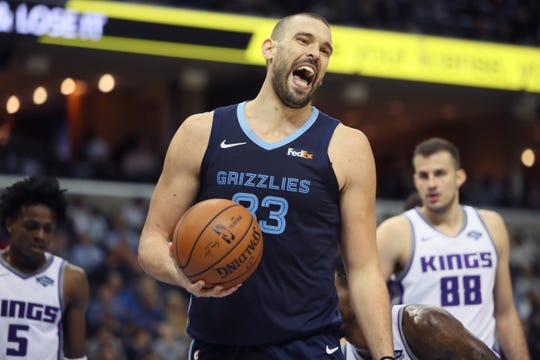Memphis Grizzlies center Marc Gasol yells out after being fouled by a  Sacramento Kings defender during