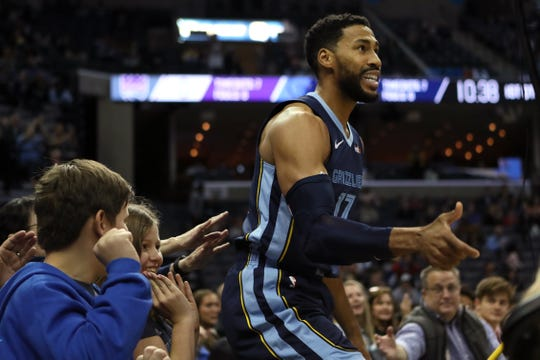 Grizzlies guard Garrett Temple celebrates a layup after getting fouled against the Kings in mid-November.
