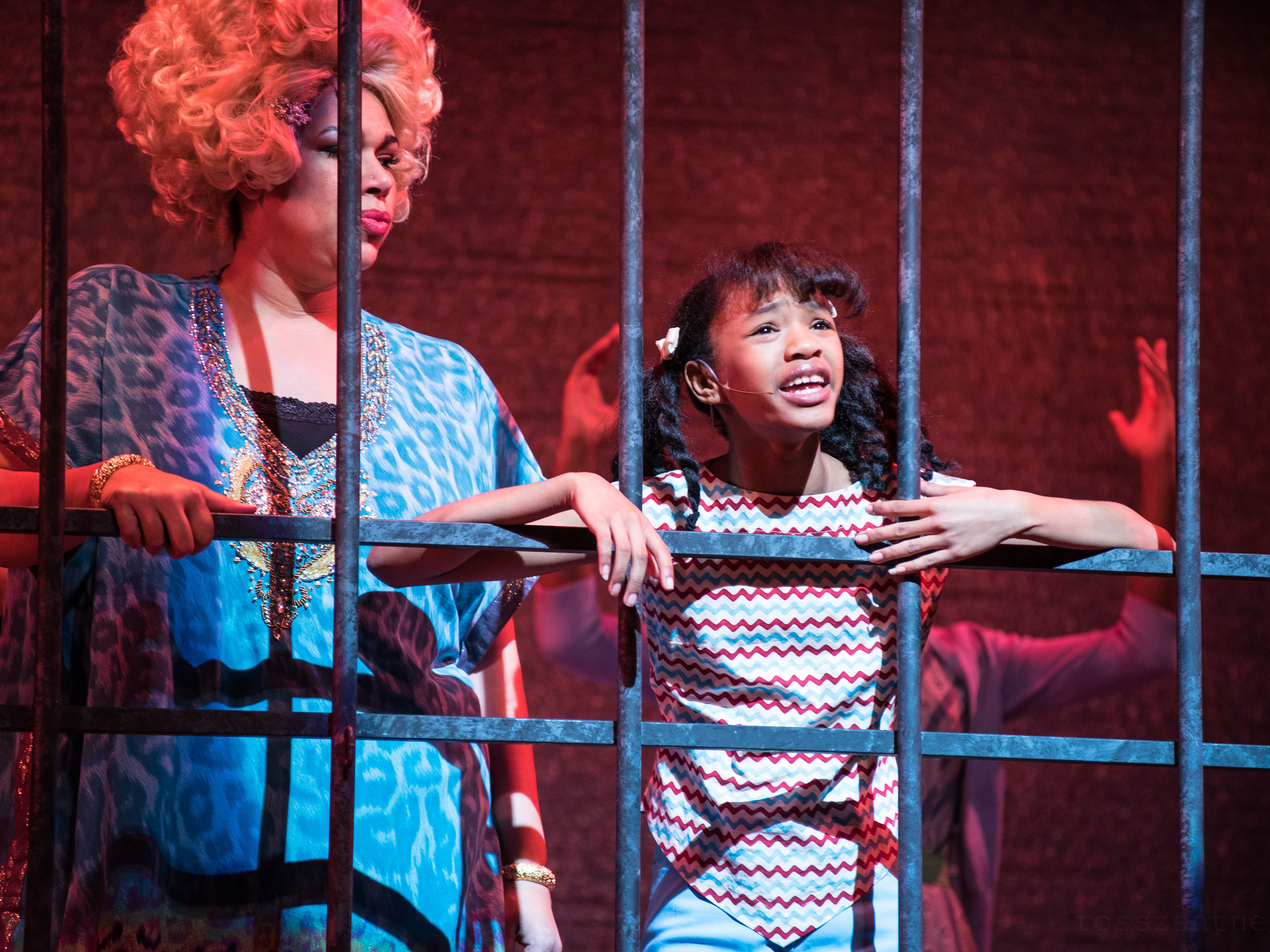 """Bethany Thomas (left) and Terynn Erby-Walker consider their situation in Skylight Music Theatre's """"Hairspray."""""""