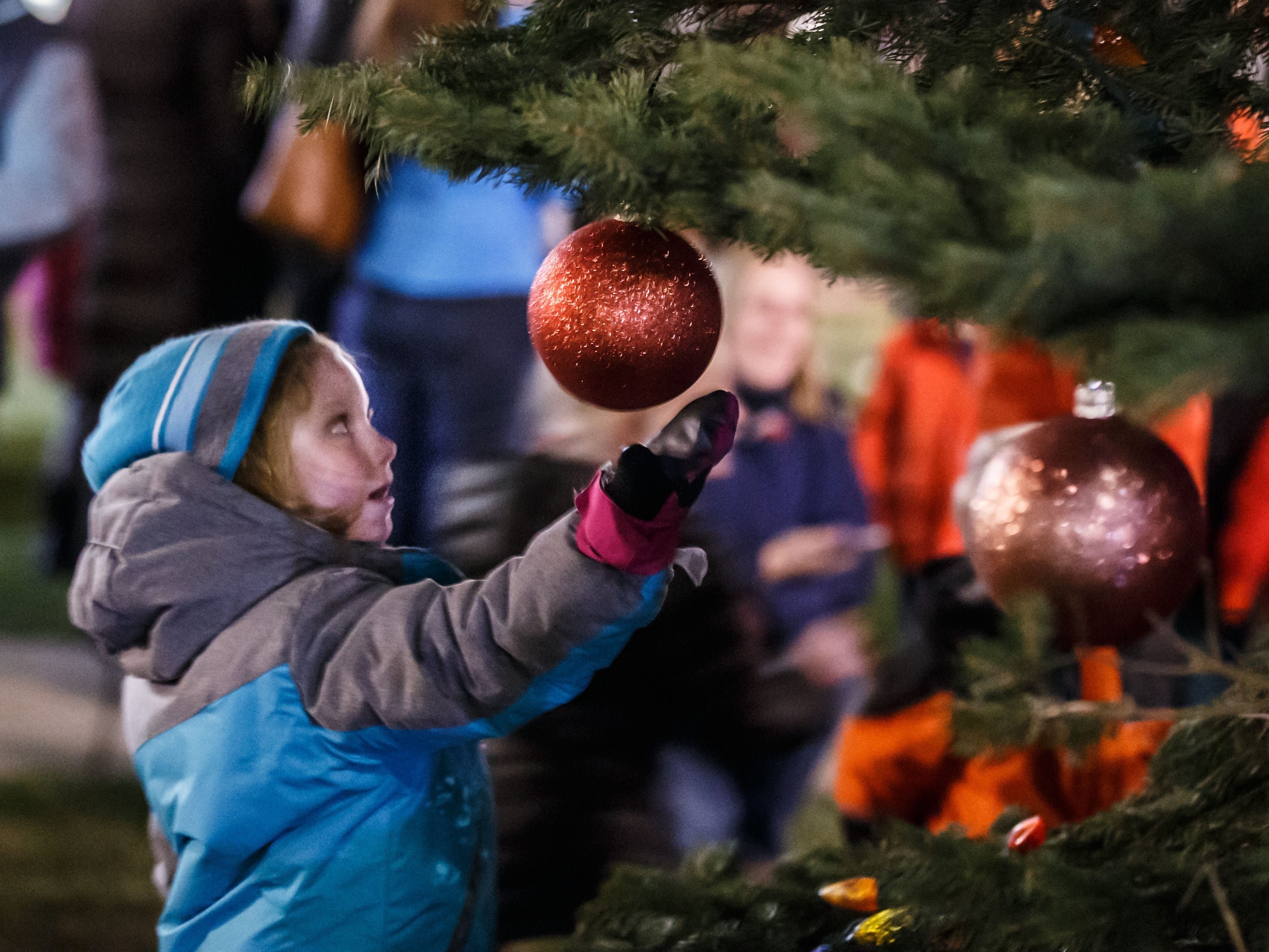 Six-year-old Hadley Andrew of Delafield takes a closer look at an ornament during the annual Delafield Tree Lighting event on Friday, Nov. 16, 2018. The event, hosted by the City of Delafield Tourism, featured live music, free cookies, hot cocoa and more.