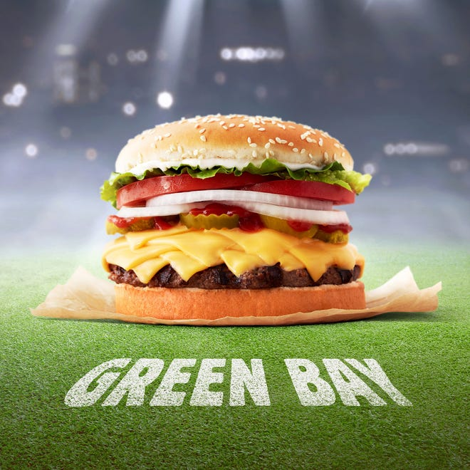 The Green Bay Whopper from Burger King features eight slices of cheese.