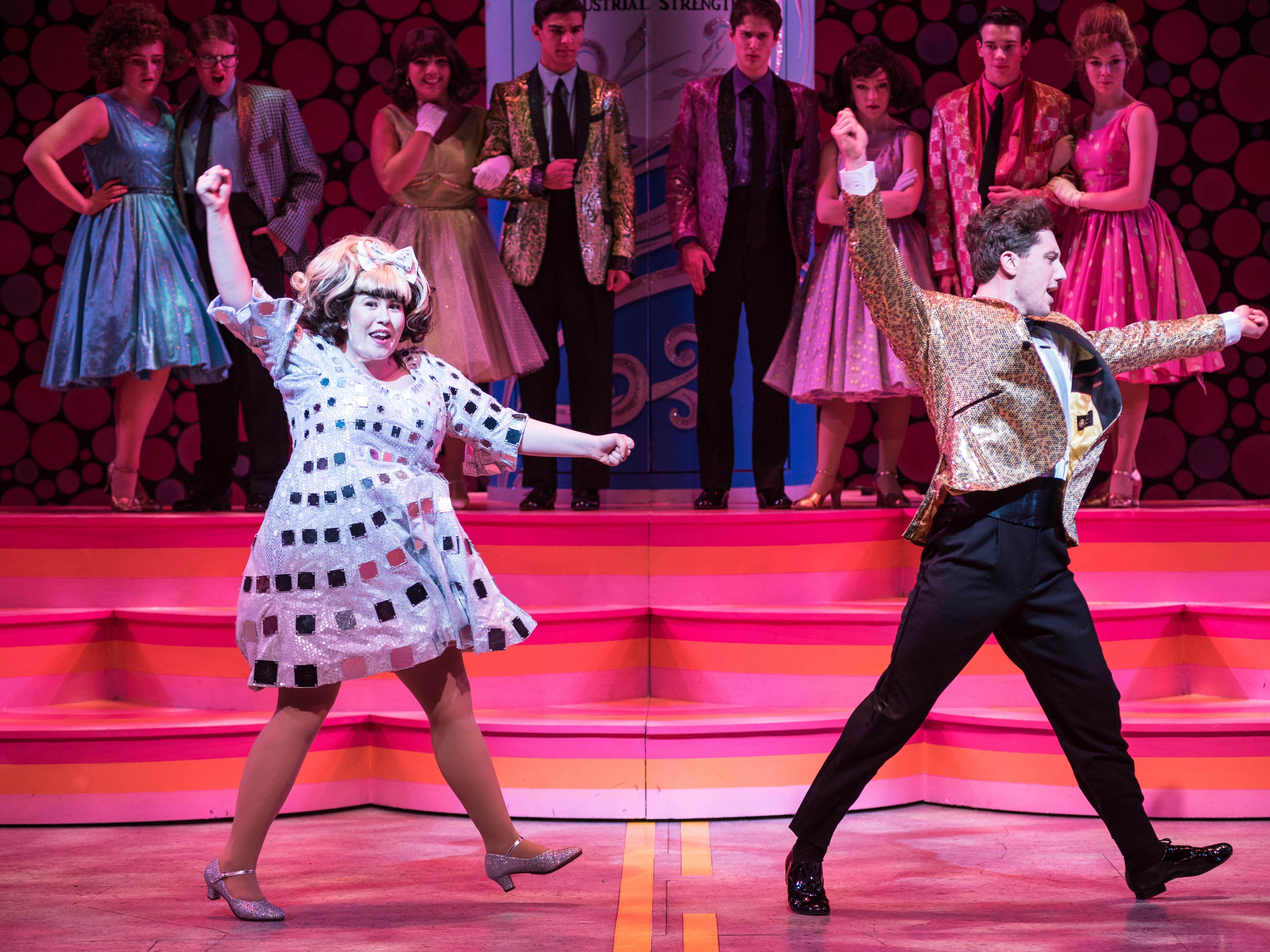 "Maisie Rose and Colin Schreier dance in Skylight Music Theatre's ""Hairspray."""