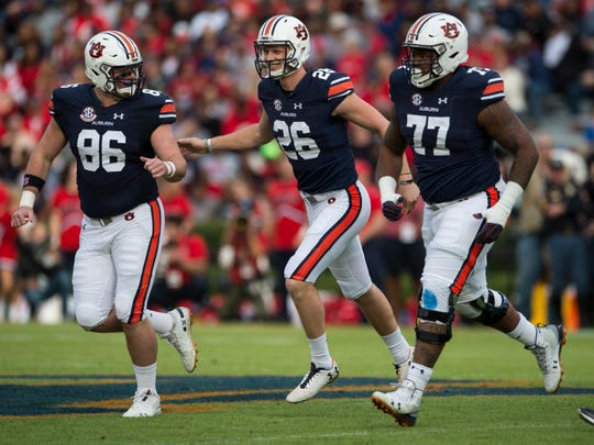 Auburn kicker Anders Carlson (26) celebrates after making a field goal against Liberty at Jordan-Hare Stadium in Auburn, Ala., on Saturday, Nov.. 17, 2018. Auburn leads Liberty 32-0 at halftime.