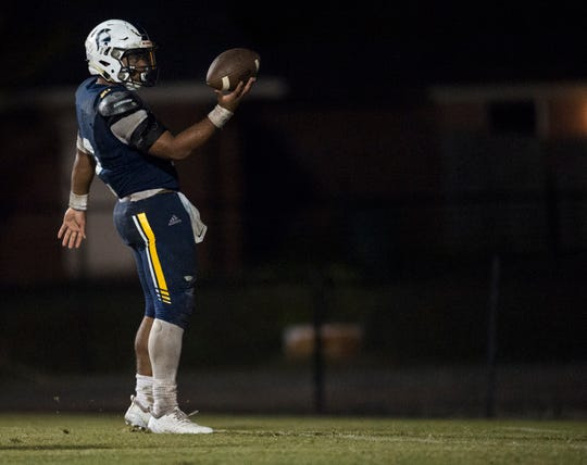 St. James' Tony Amerson (2) celebrates after scoring a touchdown run during the second round of the 3A playoffs at St. James High School in Montgomery, Ala., on Friday, Nov. 16, 2018. Providence Christian defeated St. James 27-6.