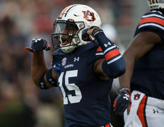 Auburn defensive back Jordyn Peters (15) celebrates after blocking a Liberty punt at Jordan-Hare Stadium in Auburn, Ala., on Saturday, Nov.. 17, 2018. Auburn leads Liberty 32-0 at halftime.