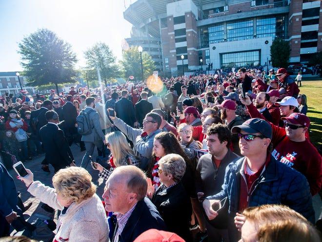 Alabamaa fans during the Walk of Champions before the Alabama vs. Citadel game at Bryant-Denny Stadium in Tuscaloosa, Ala., on Saturday November 17, 2018.