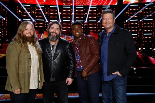 From left, remaining members of Team Blake on The Voice are Chris Kroeze, Dave Fenley, Kirk Jay, and coach Blake Shelton.