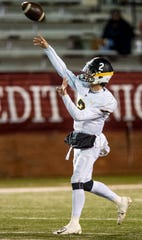 Autauga's Tripp Carr (2) passes against Escambia in the AISA Class AA State Championship game in Troy, Ala., on Friday November 16, 2018.