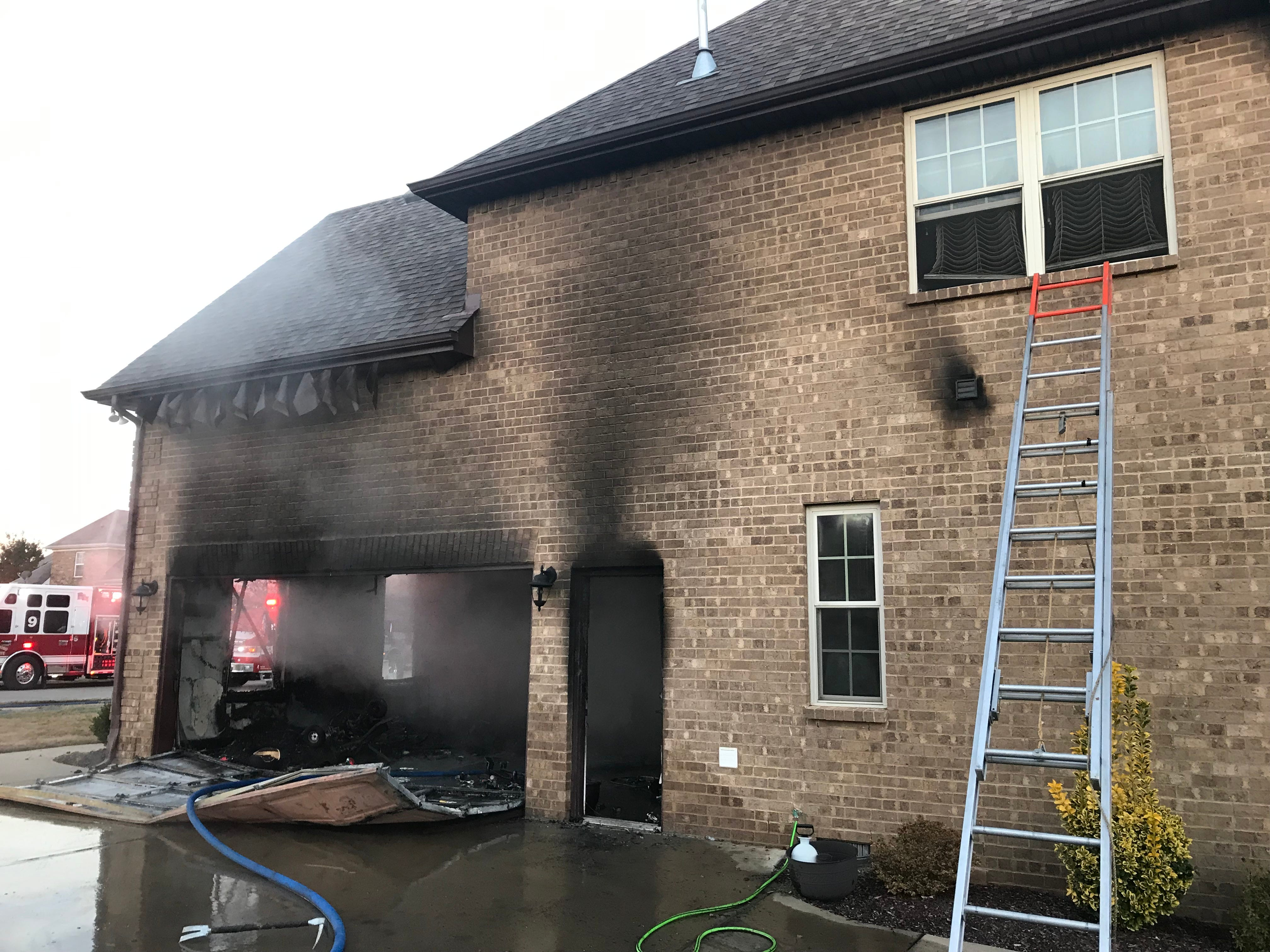The garage of a two-story home on  Janell Trail caught fire early Saturday morning.