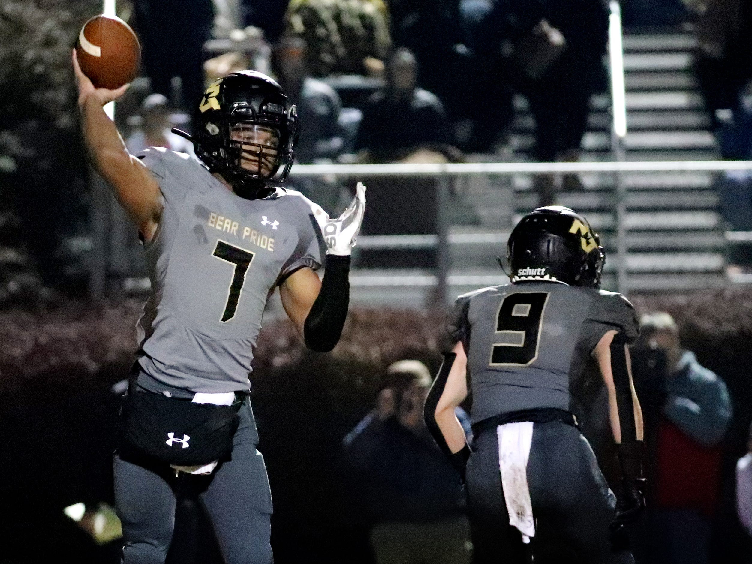 Mt. Juliet's quarterback Alvin Mixon (7) passes the ball against Oakland at Mt Juliet, on Friday, Nov. 16, 2018, during the Class 6A playoffs.