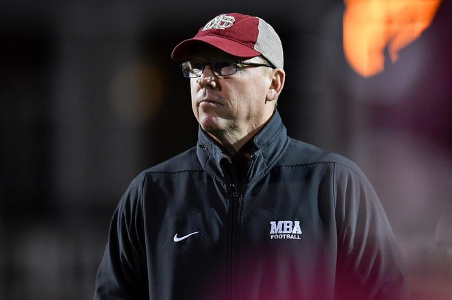 MBA head coach Marty Euverard watches his team during their 2018 Division II Class AAA State Football Playoff game against Brentwood Academy at Montgomery Bell Academy Friday, Nov. 16, 2018, in Nashville, Tenn.